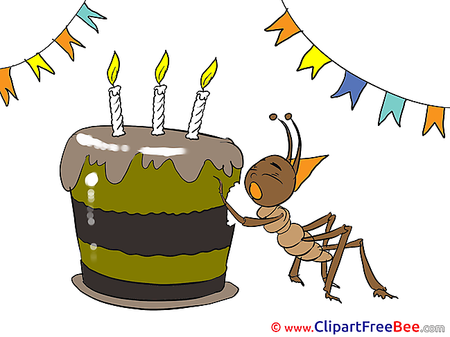 Ant Cake Birthday Illustrations for free