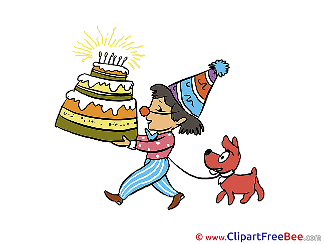 Dog Boy with big Cake Pics Birthday Illustration