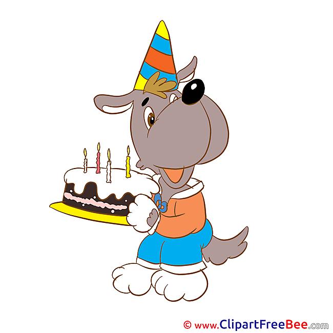 Dog with Cake printable Birthday Images