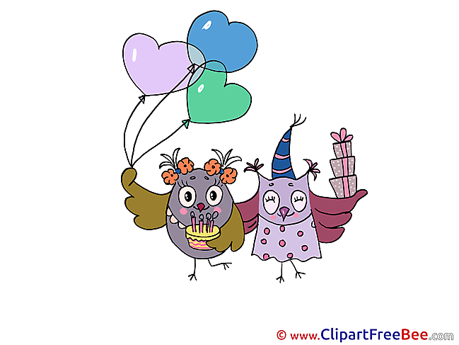 Owls Birthday Illustrations for free