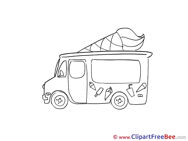 Drawing Ice Cream Truck Clipart free Illustrations