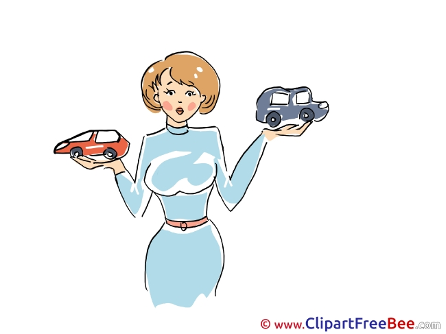 Toy Cars Lady printable Illustrations for free