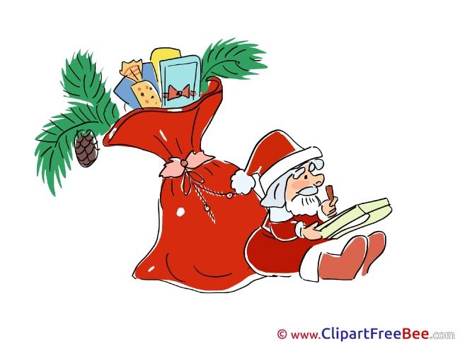 Bag Santa Claus Pics Christmas Illustration