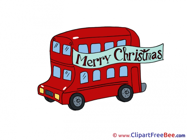 Bus Merry Christmas Illustrations for free