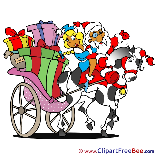 Carriage Santa Claus Clipart Christmas free Images
