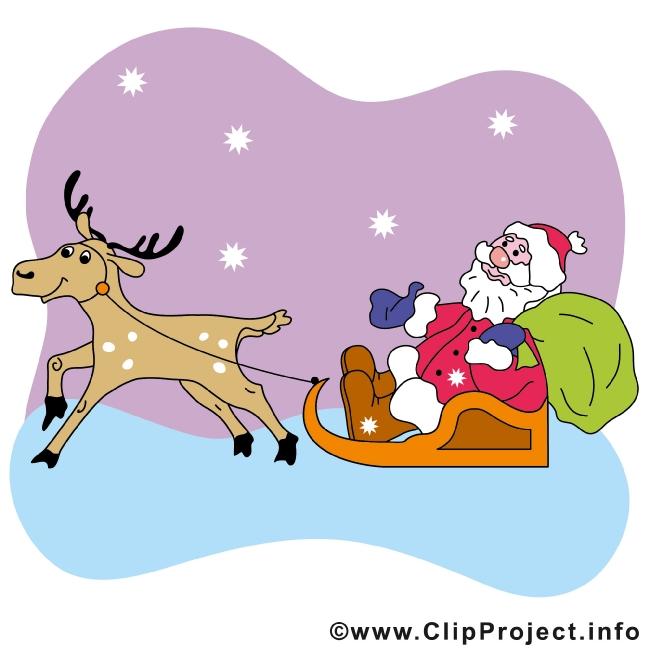 Deer and Santa Cartoon Clip Art free