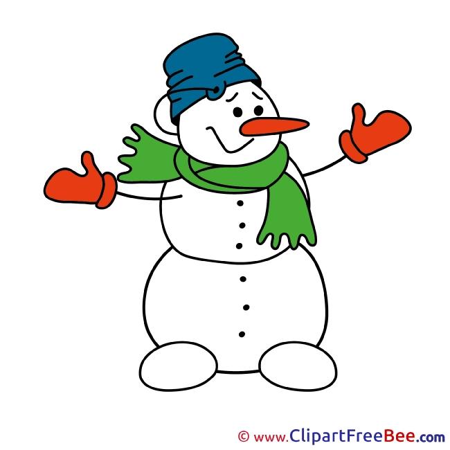 Pics Snowman Christmas Illustration