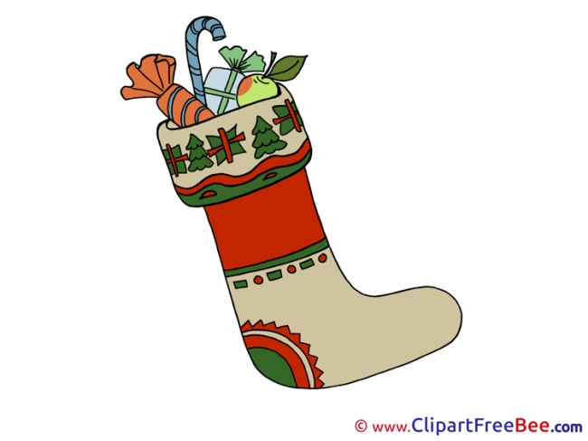 Sock with Presents printable Illustrations Christmas