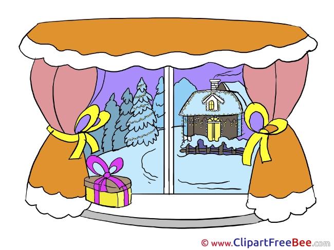 Window Present printable Christmas Images