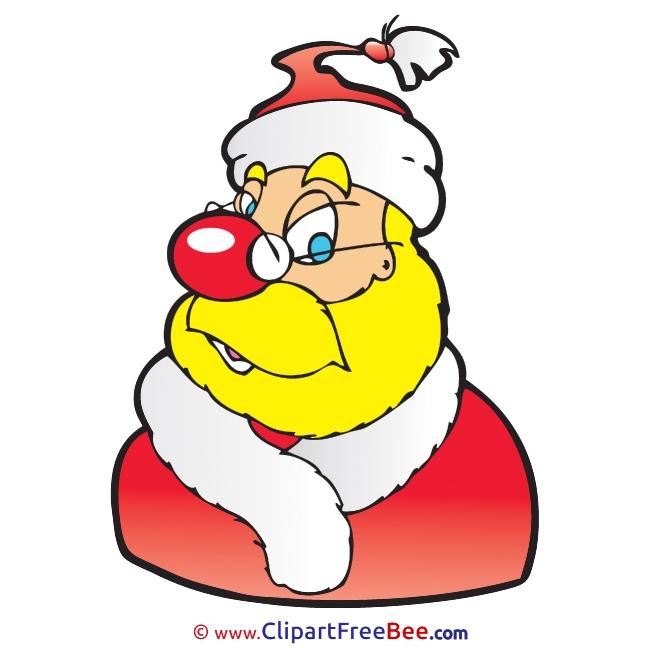 Yellow Santa Claus printable Illustrations Christmas