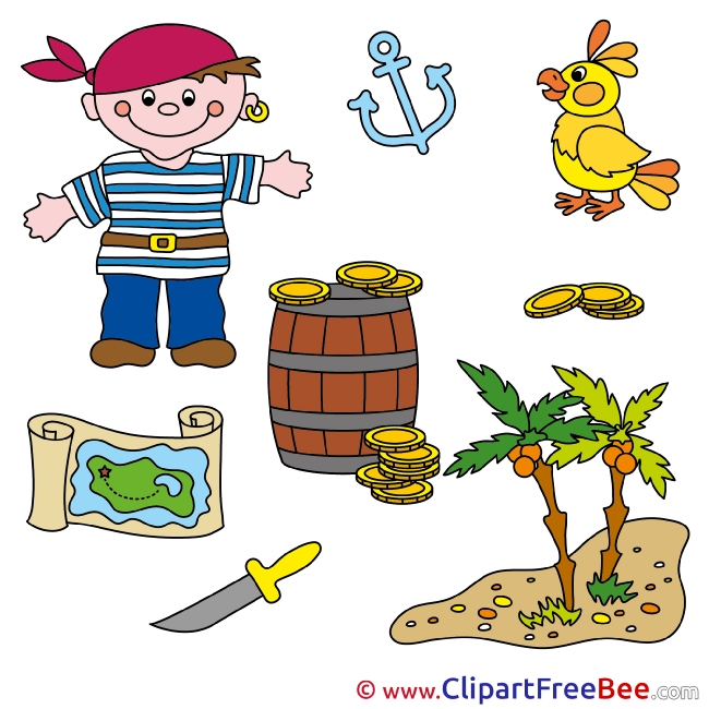 Parrot Map Treasures Pirate Fairy Tale Illustrations for free