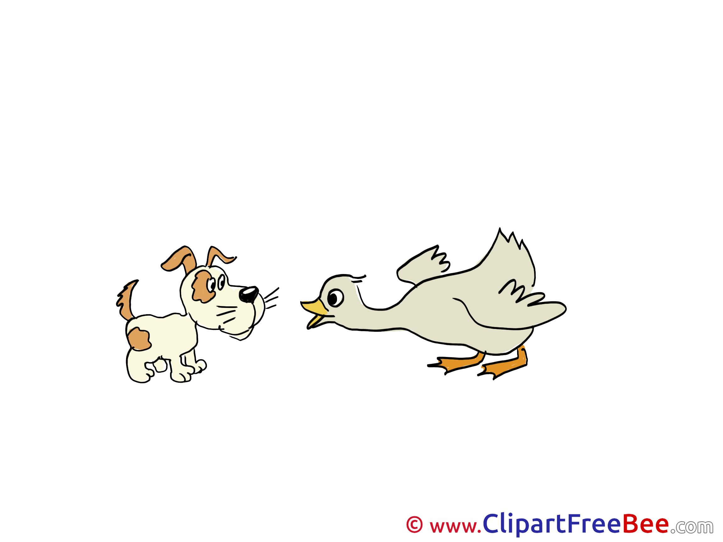 Duck with Puppy free Illustration download