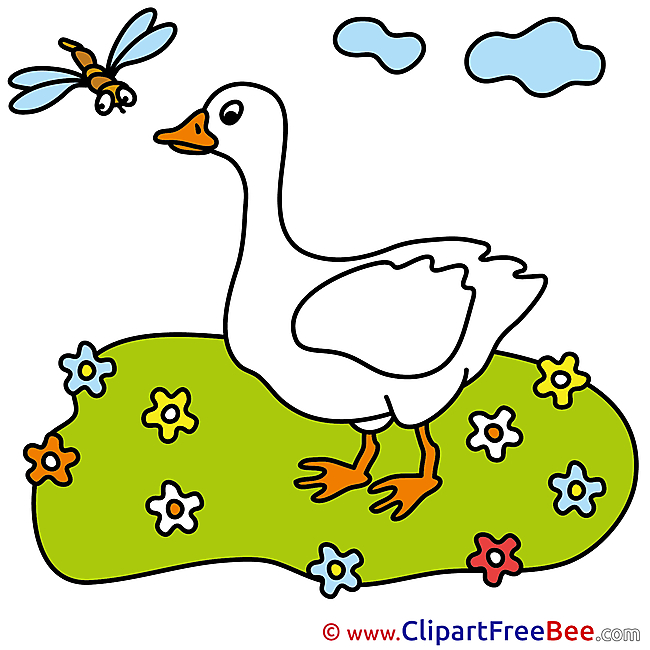 Goose Meadow Flowers Clip Art download for free