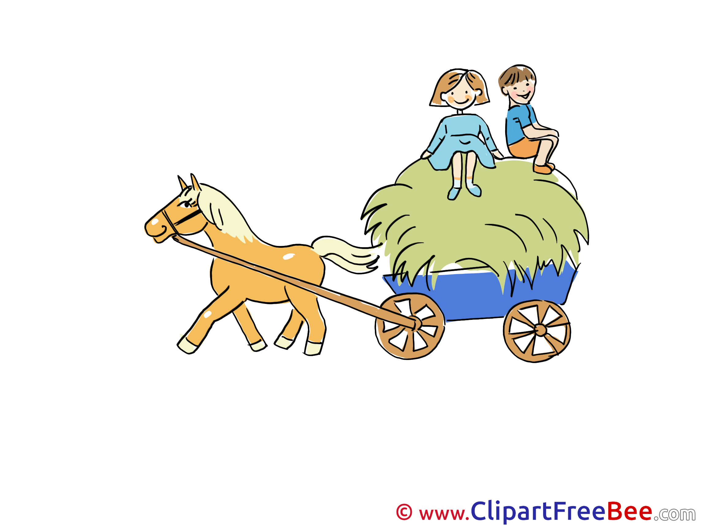 Hay cart boys horse clipart free illustrations - Charrette dessin ...