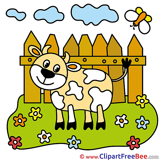 Heifer Meadow Fence Pics download Illustration