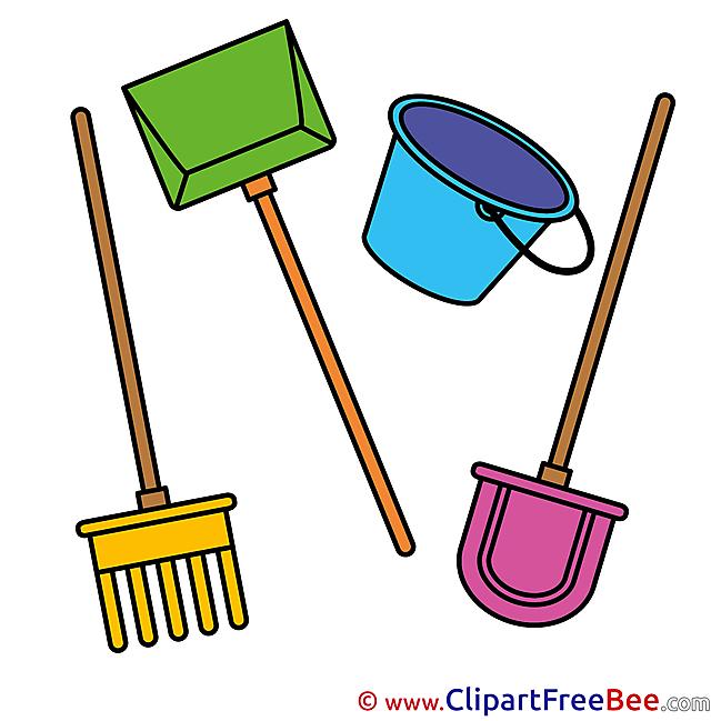 Tools Rake Shovel Bucket download printable Illustrations