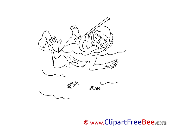Coloring Diver download Vacation Illustrations