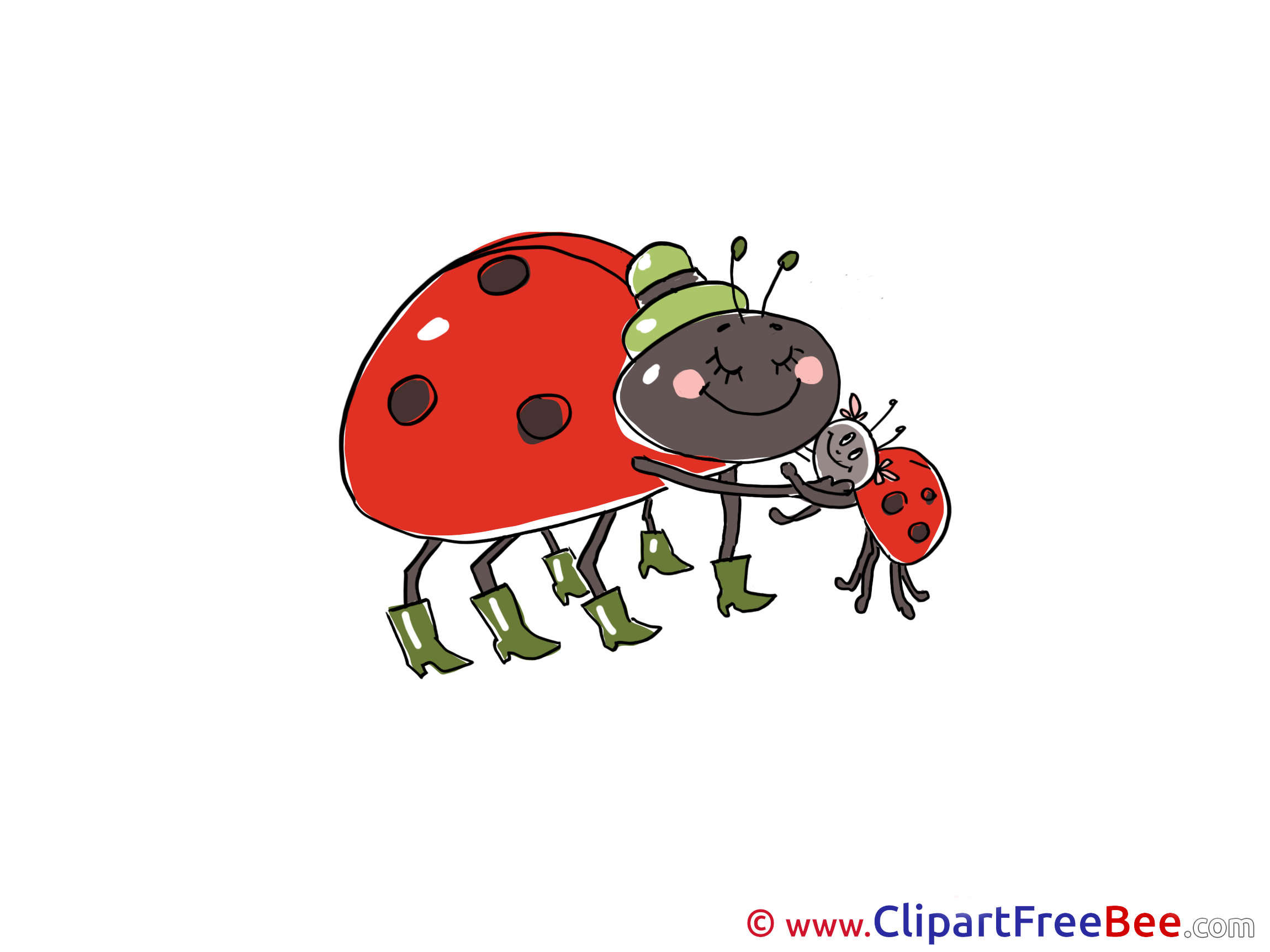 Family Ladybugs download Clip Art for free