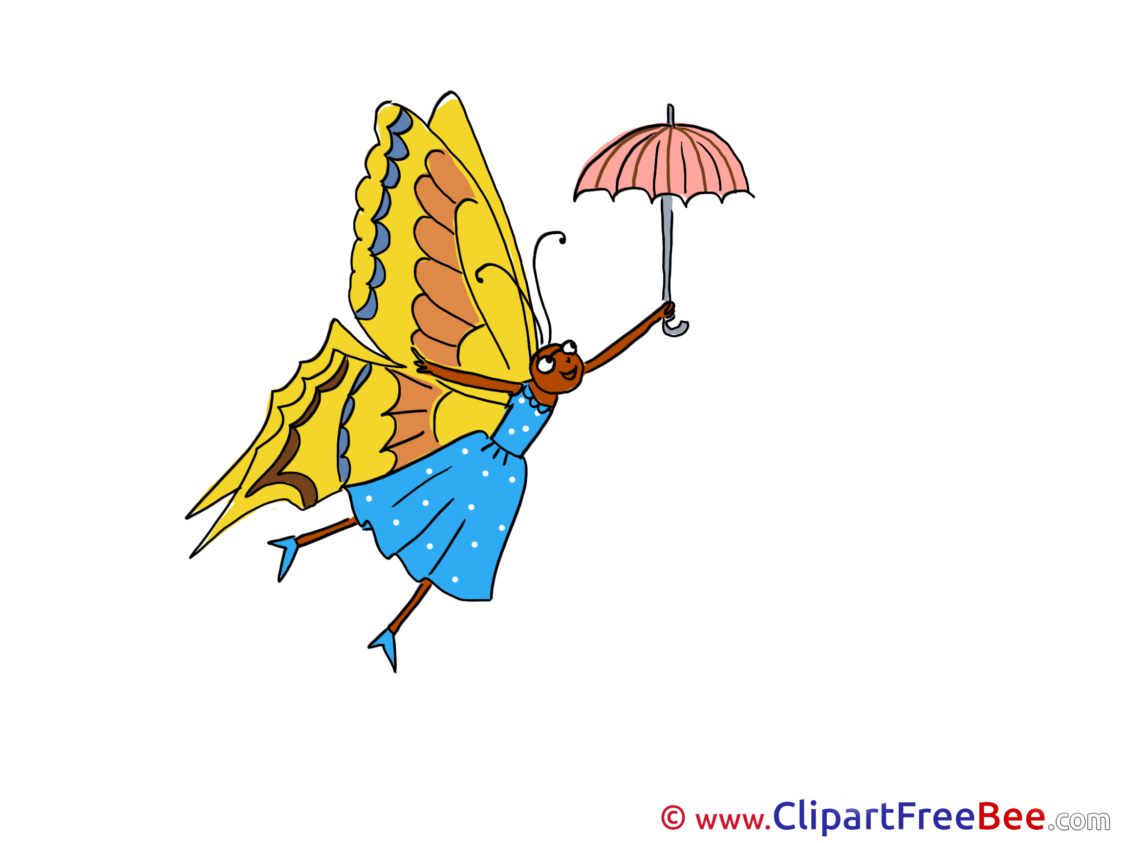 Umbrella Butterfly printable Illustrations for free