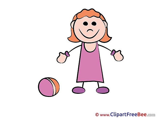Ball Girl playing Pics Kindergarten Illustration