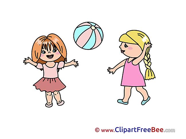 Ball Girls play download Clipart Kindergarten Cliparts