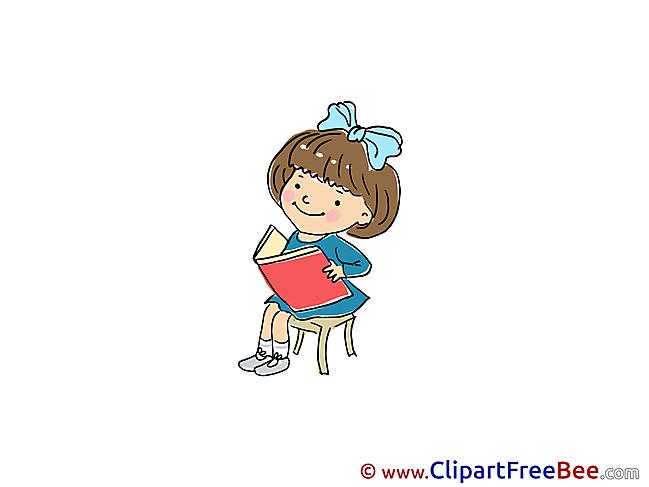 Book Girl reads Clipart Kindergarten free Images