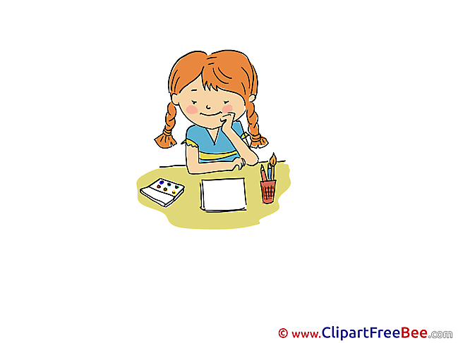 Draw Girl printable Illustrations Kindergarten