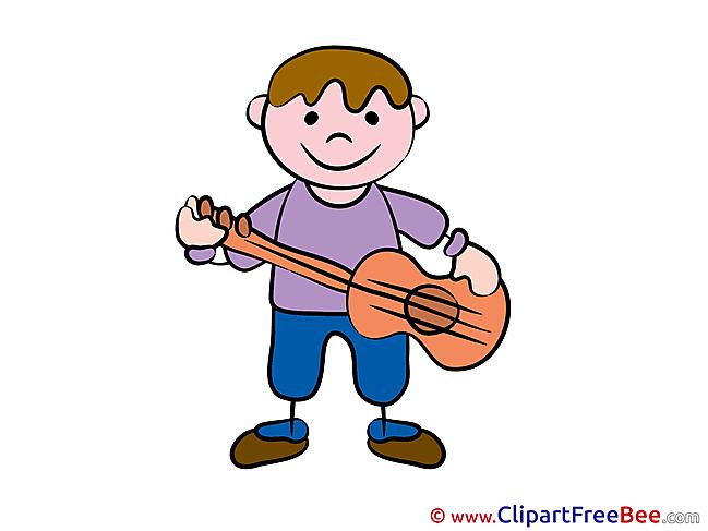 Guitarist Kid Kindergarten Illustrations for free