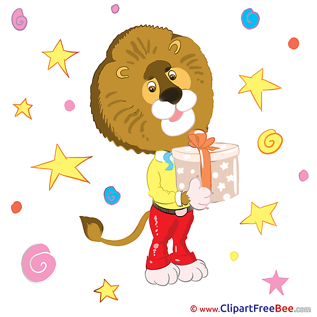 Lion with Present Kindergarten Clip Art for free