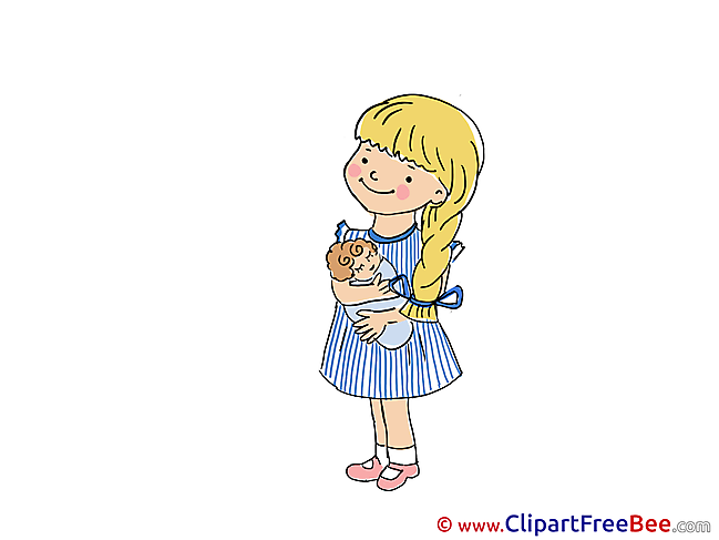 Playing with Doll Girl Kindergarten download Illustration
