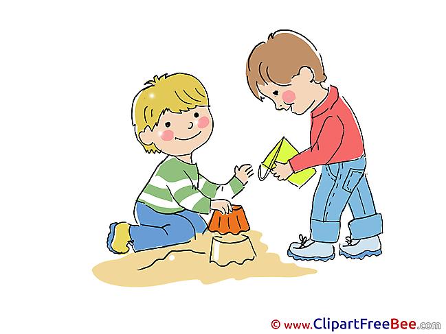 Sandbox Friends Pics Kindergarten Illustration