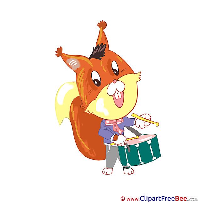 Squirrel with Drum Kindergarten free Images download
