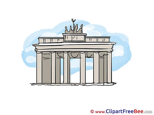 Brandenburg gate Berlin printable Illustrations for free