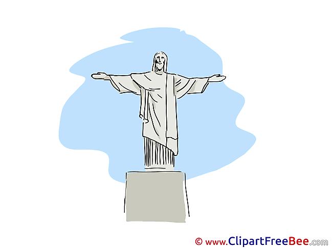 Statue of Christ Rio de Janeiro Clipart free Image download