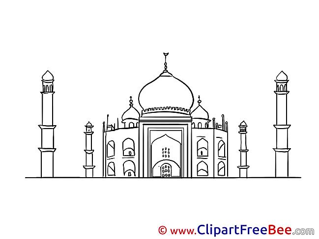 Taj Mahal Mosque Clipart free Illustrations