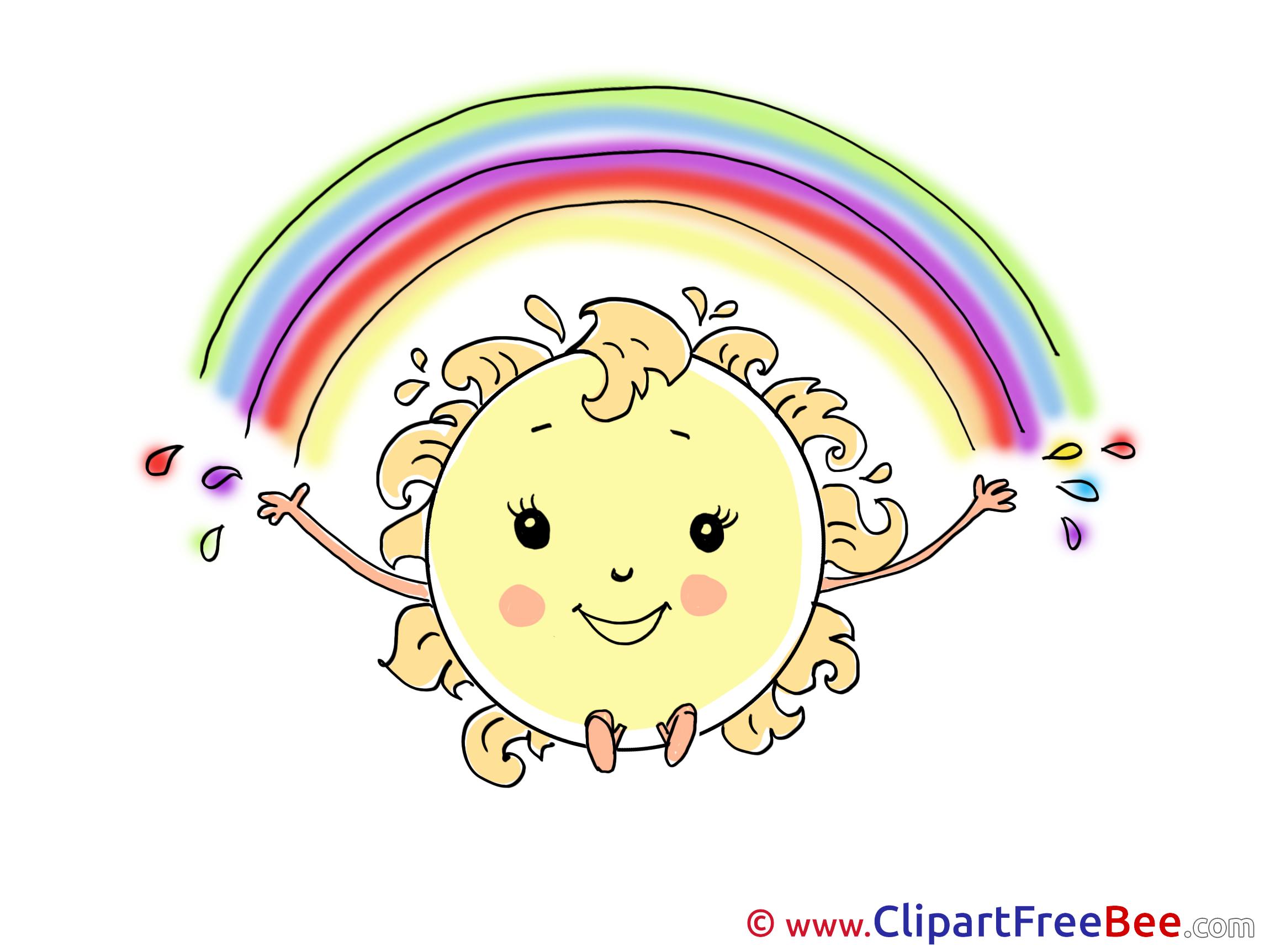 Rainbow Sun Cliparts printable for free