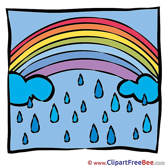 Spring Rain Rainbow download printable Illustrations