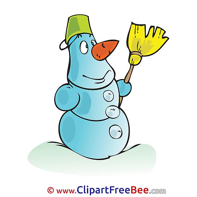 Broom Snowman Clipart Winter Illustrations