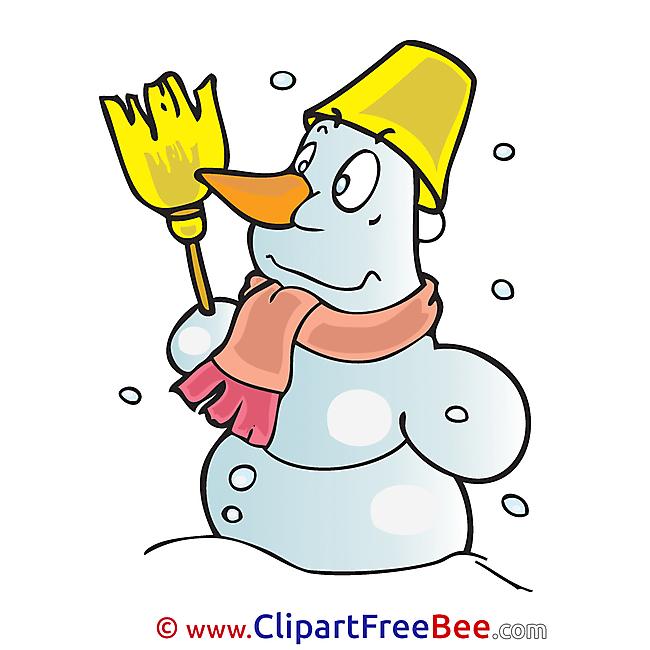 Broom Snowman free Illustration Winter