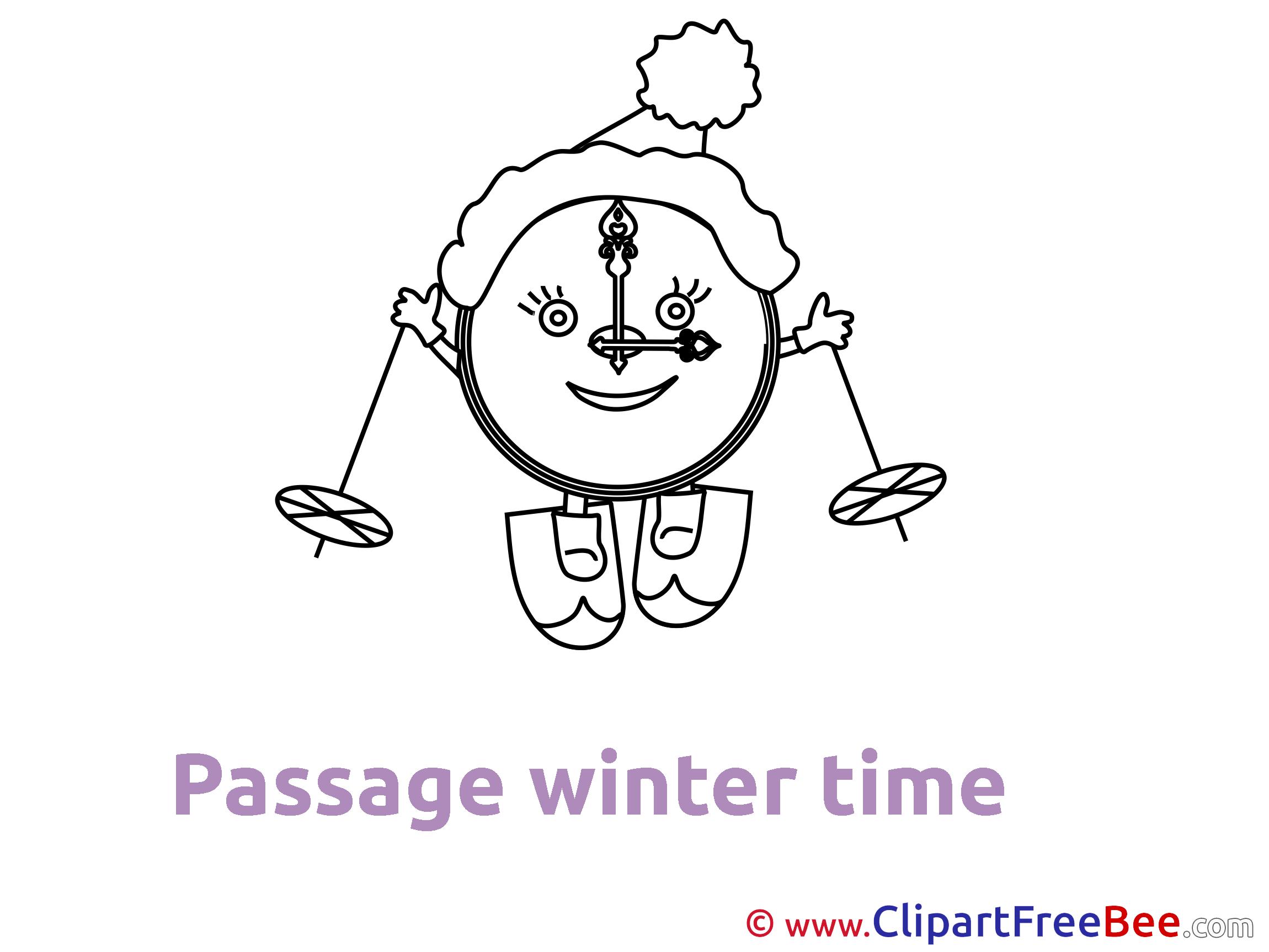 Ski Clock free Illustration Winter