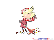 Broom Girl Clipart Autumn Illustrations