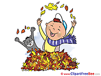 Cat Boy Leaves printable Illustrations Autumn