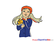 Thinking Girl Autumn Clip Art for free