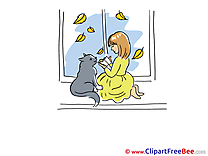 Window Cat and Girl download Clipart Autumn Cliparts