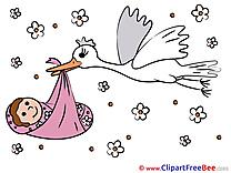Birth Stork Clipart Baby Illustrations