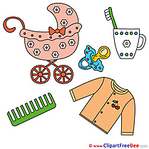Objects Pram Comb Clipart Baby Illustrations