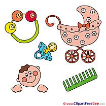 Plaything Pram Comb download Baby Illustrations