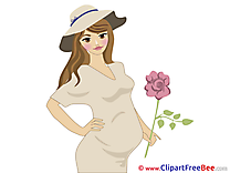 Woman pregnant printable Illustrations Baby
