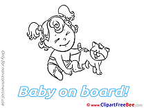 Animal Cat printable Illustrations Baby on board
