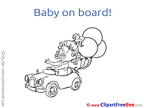 Balloons Car Baby on board Illustrations for free